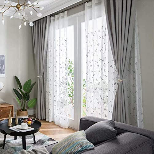 MacoHome Floral Embroidered Sheer Curtains Custom Size Decorative Voile Curtains White Grommet Top 2 Panels Living Room Window Drapes Grey