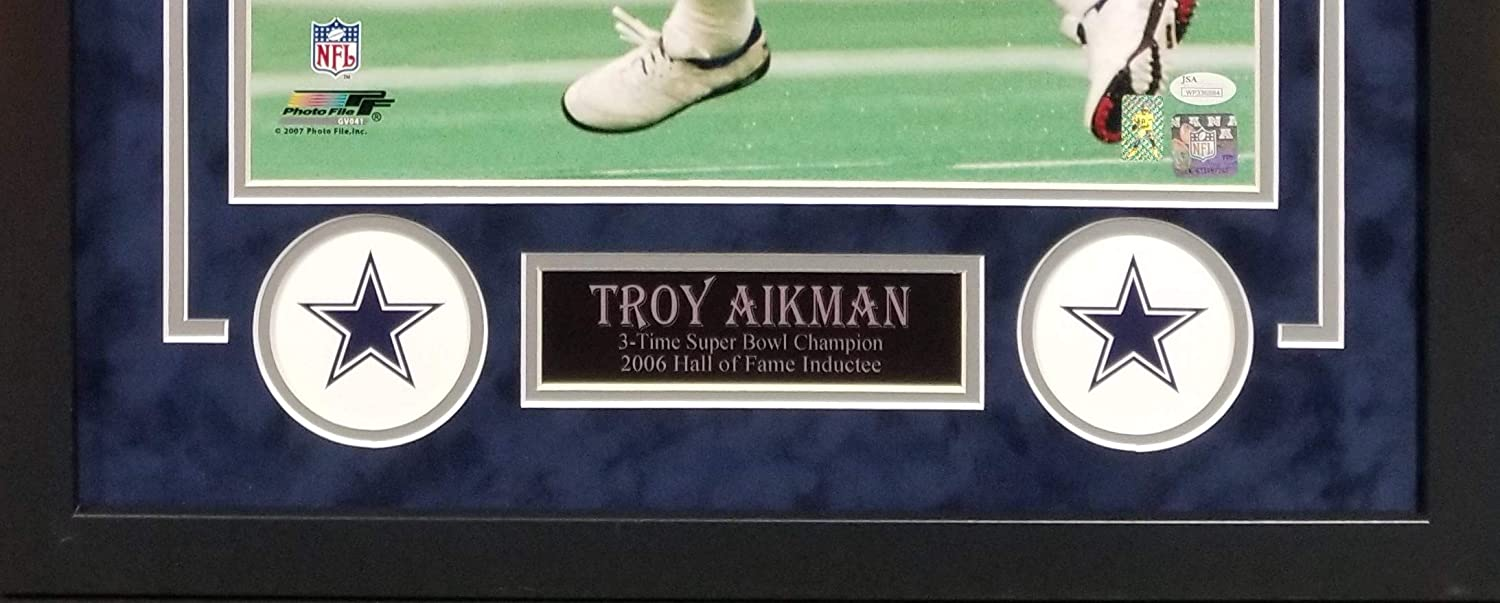 Troy Aikman Dallas Cowboys Signed Autograph Custom Framed Photo Suede Matting 23x29 Photograph Aikman Hologram /& JSA Witnessed Certified