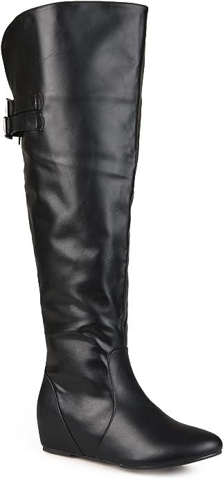4984527483e1 Journee Collection Women s Faux Leather Inside Pocket Buckle Detail Boots  Black