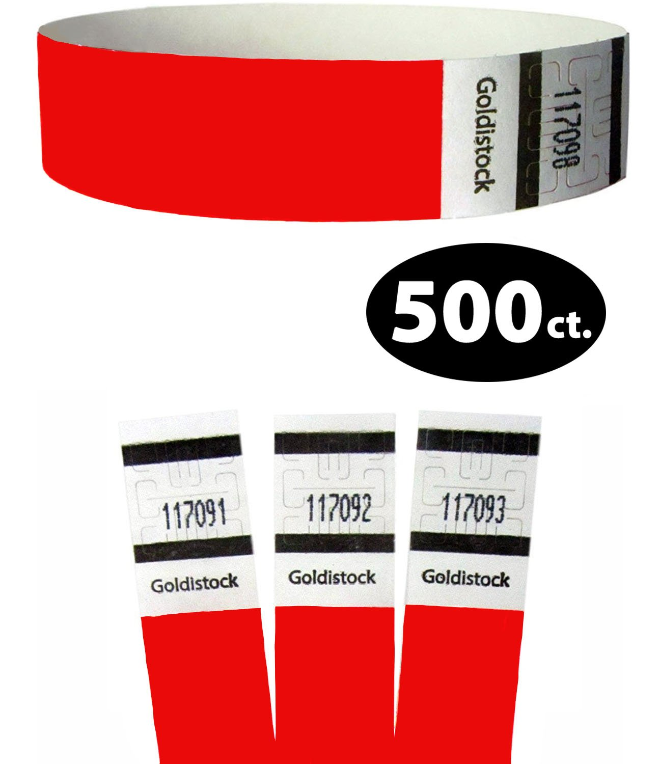 Goldistock Original Series - 3/4'' Tyvek Wristbands Fiery Neon Red 500 Count - Event Identification Bands (Paper - Like Texture)