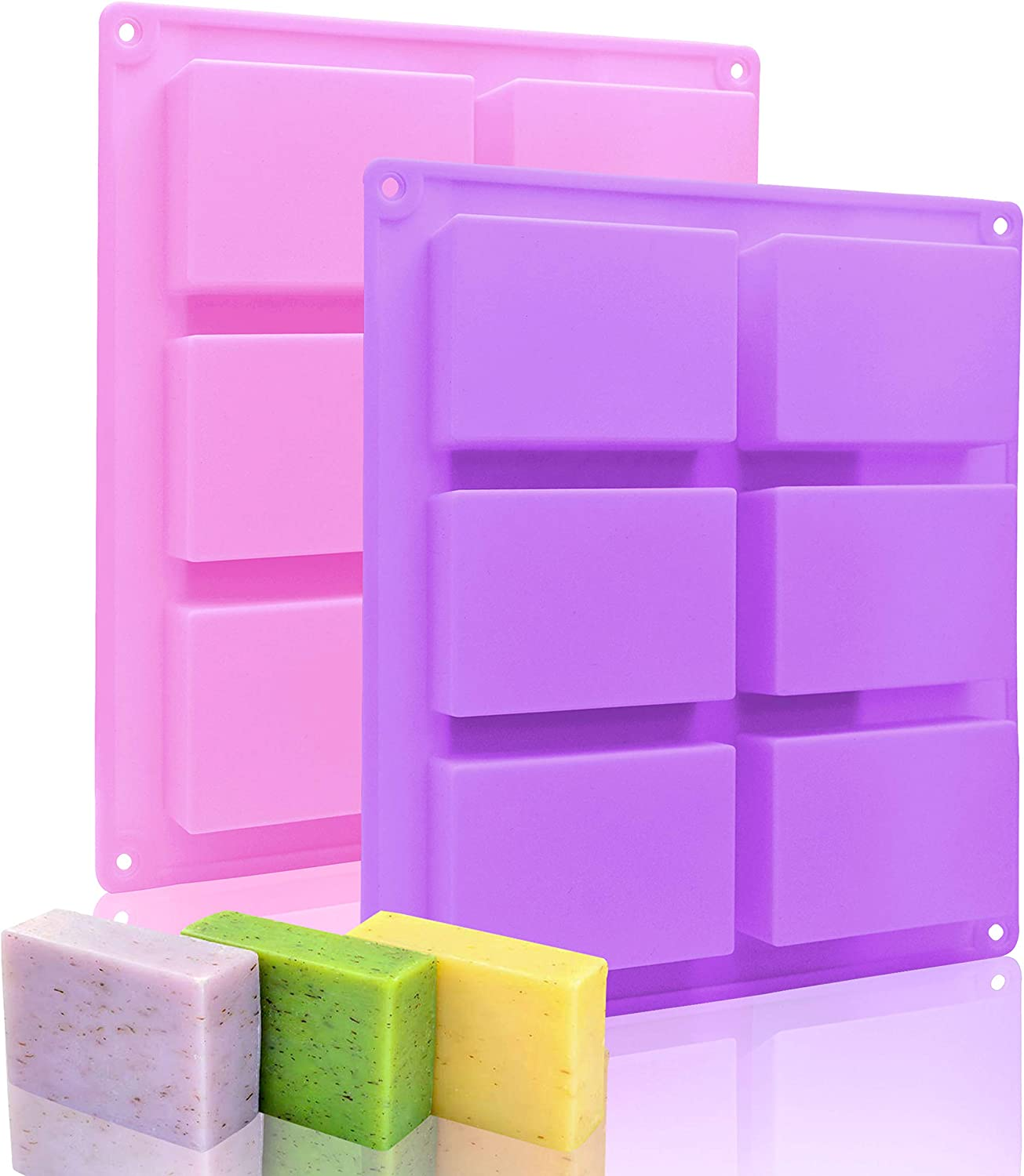Silicone Soap Molds Set of 2, 6 Cavities Rectangle Silicone Soap Molds for Homemade Craft Soap Mold, Cake Mold, Chocolate Mold & Ice Cube Tray(Purple & Pink)