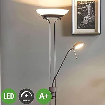 Lampenwelt Led Stehlampe Yveta Dimmbar Landhaus Vintage Rustikal In Braun Aus Glas Ua Fur Wohnzimmer Esszimmer 1 Flammig A Inkl