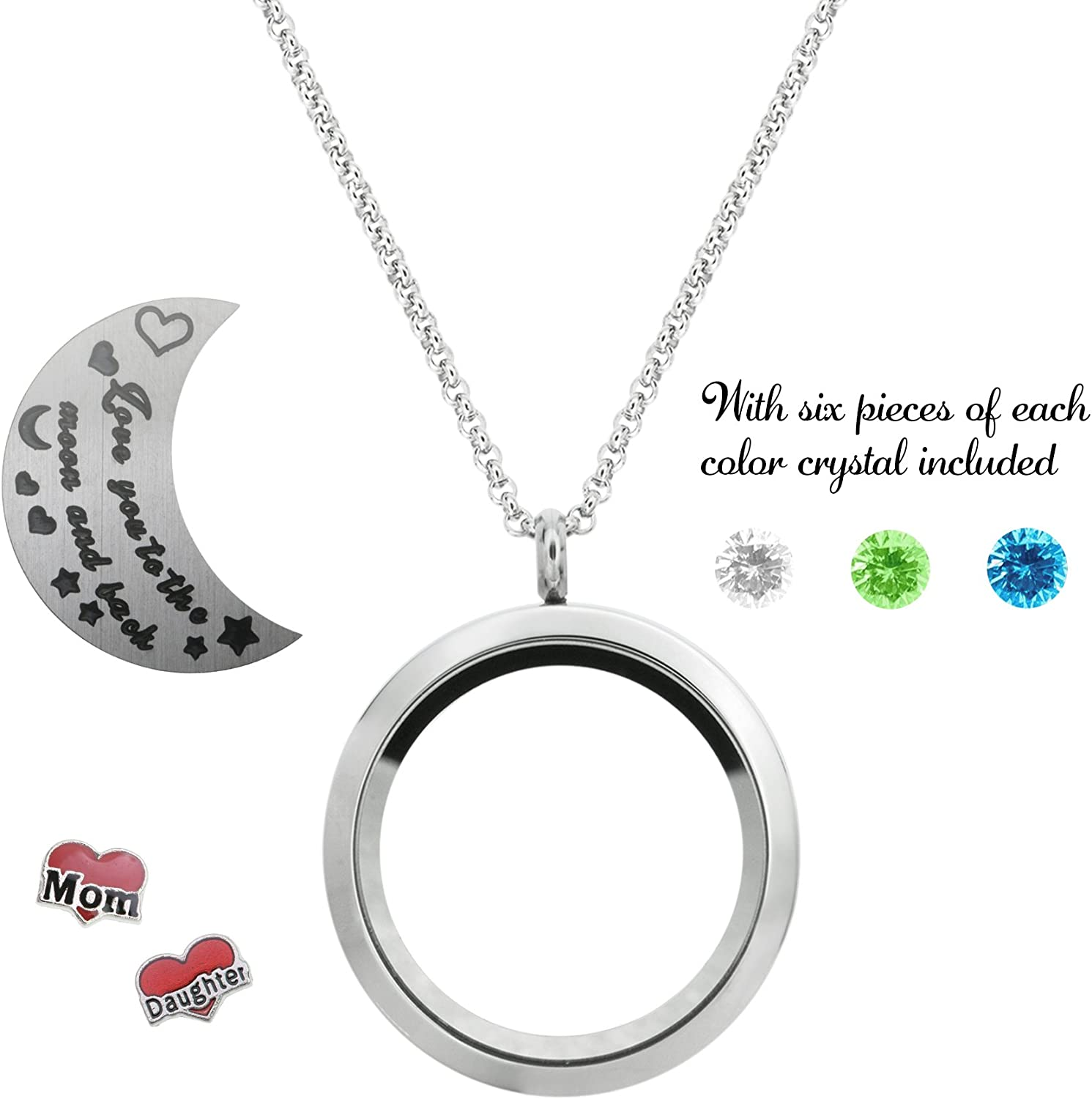 Queenberry Love You to The Moon and Back Family Floating Locket Crystal Charm Pendant Necklace