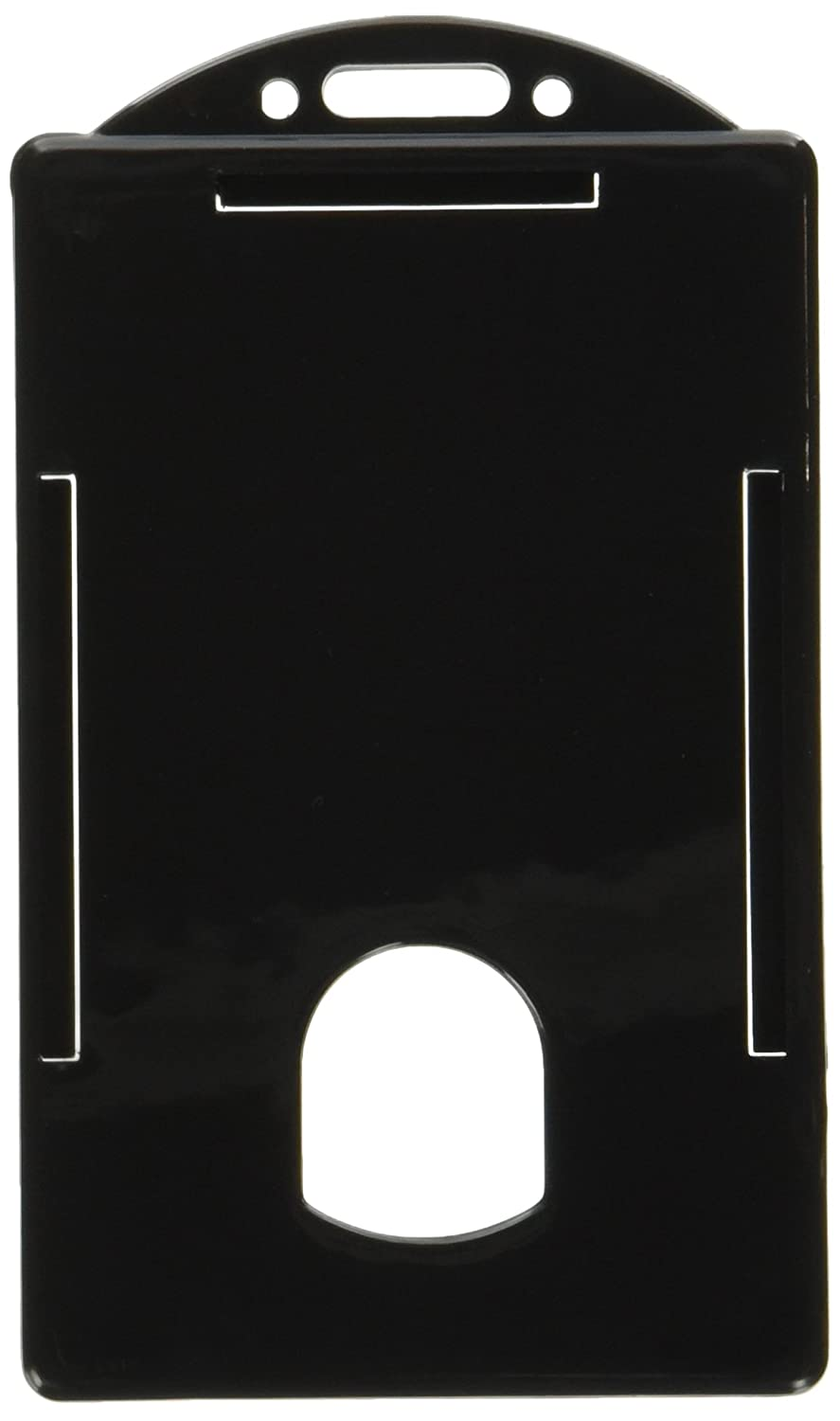 Baumgartens Vertical ID Card Holder -3.4-Inch x2.1-Inch -Plastic -25/Pack -Black BAU68320