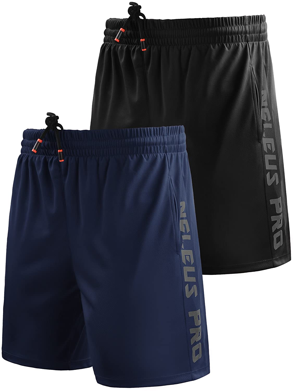 Neleus メンズドライフィットショーツ ポケット付き B077Q963F2 XL,6056# 2 Pack:black,navy Blue