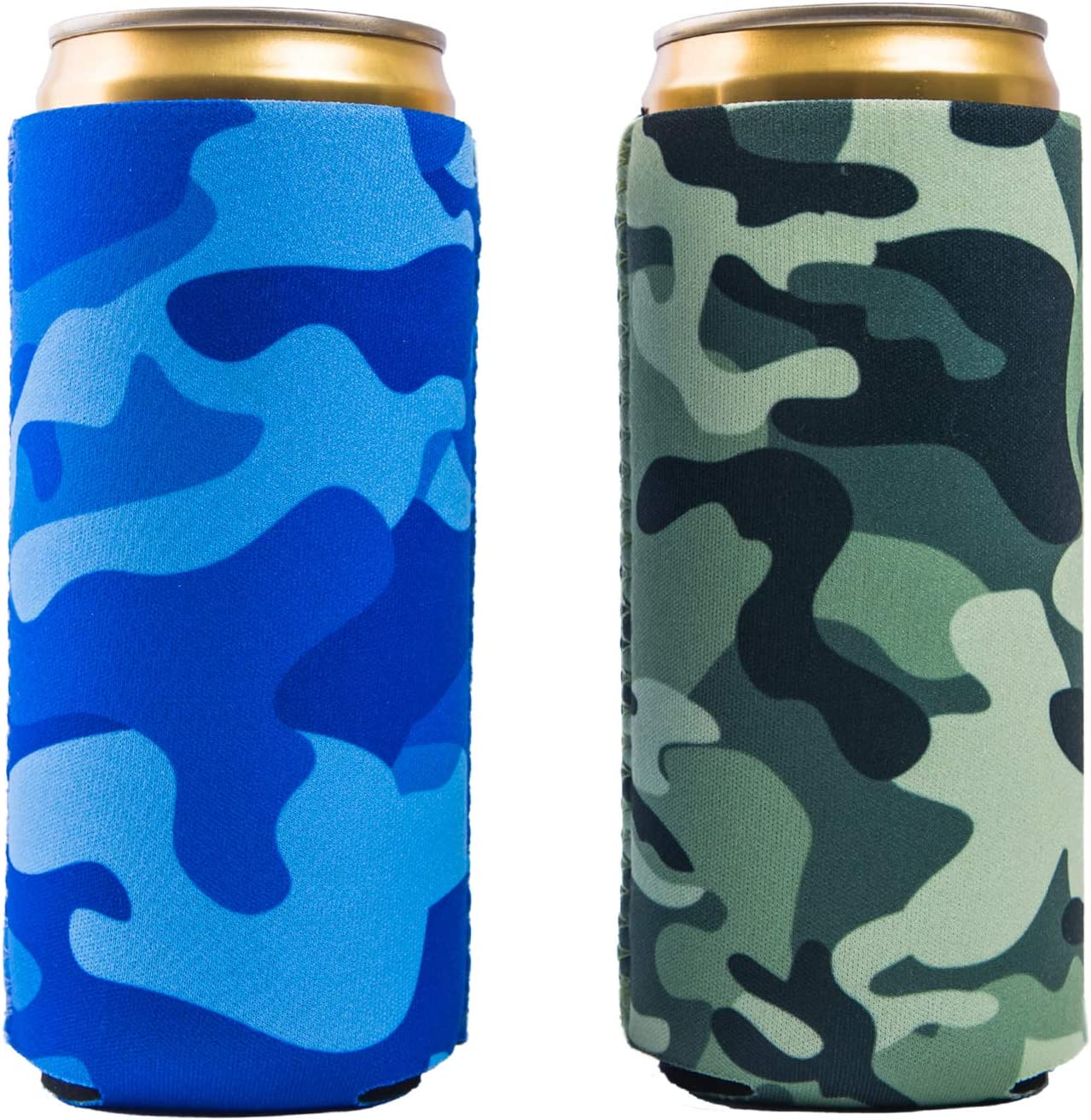 Slim Can Sleeves - Neoprene Bottle Insulator Sleeve Set of 2 Can Beverage Coolers for 12oz Energy Drink & Beer Cans (Camouflage)