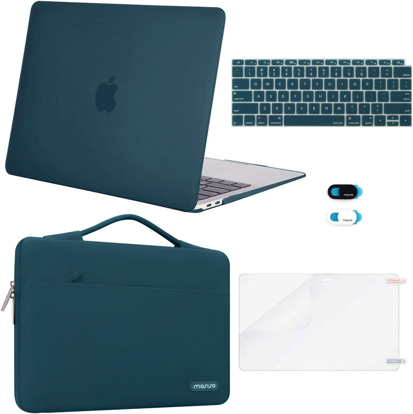 MOSISO MacBook Air 13 inch Case 2020 2019 2018 Release A2179 A1932 Plastic Hard Shell/&Sleeve Bag/&Keyboard Cover/&Webcam Cover/&Screen Protector Compatible with MacBook Air 13 inch Retina,Midnight Green