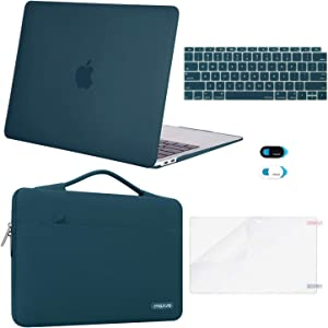 MOSISO MacBook Air 13 inch Case 2020 2019 2018 Release A2179 A1932, Plastic Hard Shell&Sleeve Bag&Keyboard Cover&Webcam Cover&Screen Protector Compatible with MacBook Air 13 inch Retina, Deep Teal
