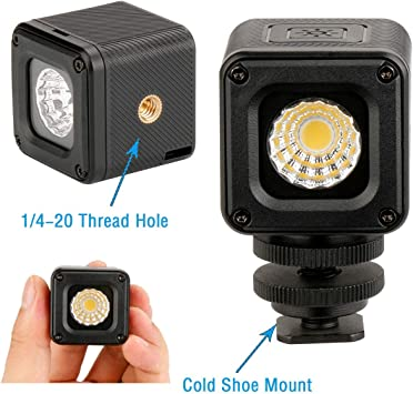 DSLR Dazzne Mini Cube LED Video Light with 1//4 20 Screw Hole Underwater Lights for Drone Camcorder and Action Cameras- Waterproof 20M Smartphone