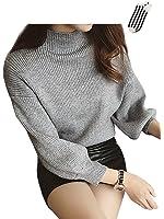 AIKOSHA レディース ニット セーター & 靴下 のセット商品 パフスリーブ アンゴラ混 ふんわり 軽い 上品な ハイネック