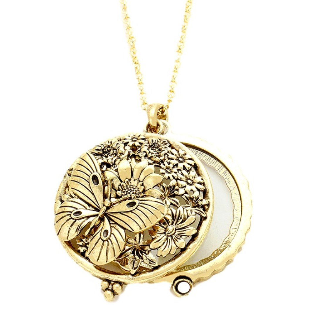 Magnifying Glass Necklace Butterfly Flowers C48 Burnish Ornate Gold Tone Long