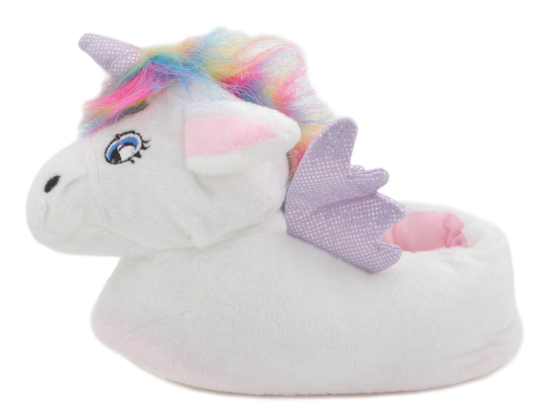 SlumberzzZ Girls Rainbow Hair 3D Plush Unicorn Slippers White