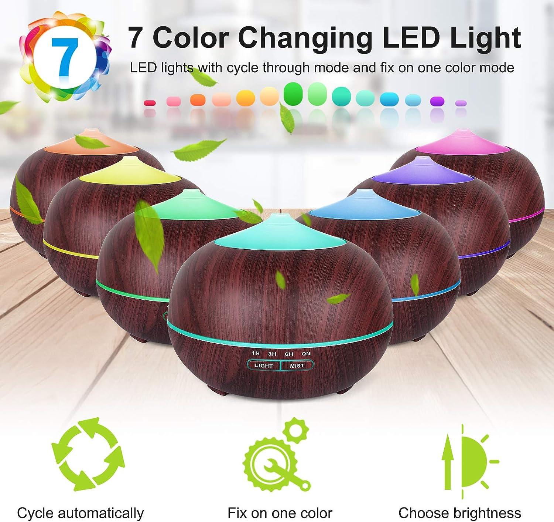 Ajuste del Temporizador Difusor ultras/ónico Humidificador de Aire de Niebla fr/ía TENSWA Difusor de Aceite Esencial de aromaterapia de 400 ml Luces LED Que cambian de Color