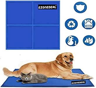 Large Dog Cooling Mat (Blue) | Keeps your larger pets cool & calm during summer | Non - toxic cooling pads for dogs and cats  [96*81]