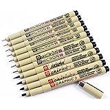 Sakura 11 Pcs Pigment Liner Pigma Micron Ink Fine Line Pen Set 005 01 02 03 04 05 08 1 2 3 Brush with Pen Case, Black, Made in Japan