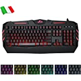 Rii RK900 Large Size 7 Colour LED Rainbow Gaming Keyboard UK Layout - Black