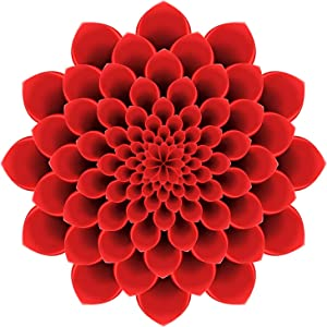 "EW Designs Pretty 3-D Optical Illusion Mandala Dahlia Flower - Red Vinyl Decal Bumper Sticker (4"" Wide)"