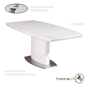 H24living Esstisch Ausziehbar Weiß Hochglanz Ausziehtisch Für Ihr Esszimmer  Funktionstisch Ausziehbarer Ess Tisch Lackiert 160