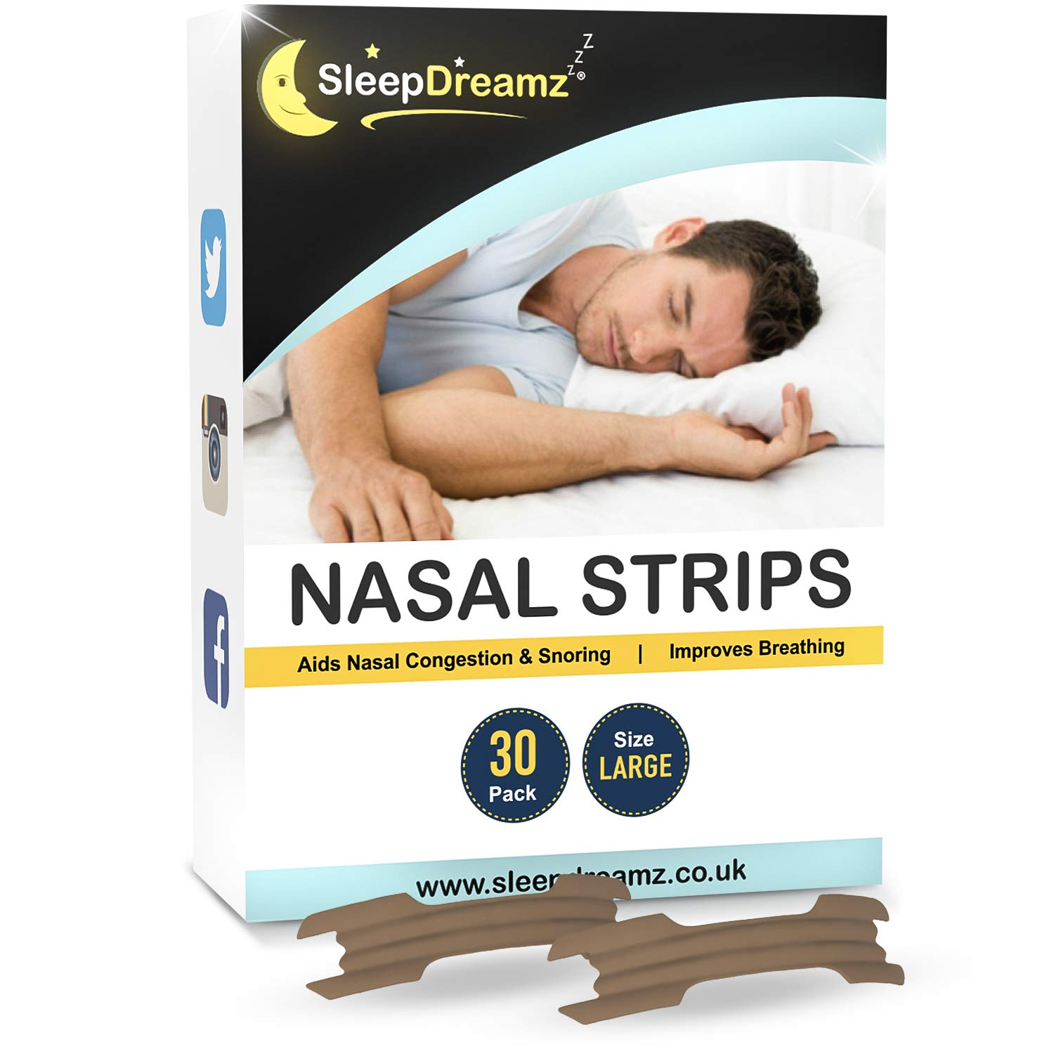 SleepDreamz Nasal Strips for Snoring Relief – Stop Snoring with Our Snore Stopper Nose Strips - Our Anti Snore Devices Relieve Nasal Congestion & Sleep Apnea – Snoring Strips (x30), 1 Month's Supply!
