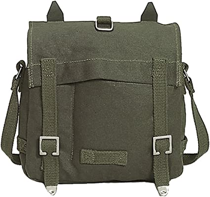 Combat Student Shoulder Pack Carry Bread Bag BW Army Style Canvas Olive OD Small