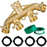 "Hourleey Brass Garden Hose Splitter (4 Way), Solid Brass Hose Connector 3/4"", Hose Spigot Adapter 4 Valves with 4 Extra Rubbe"