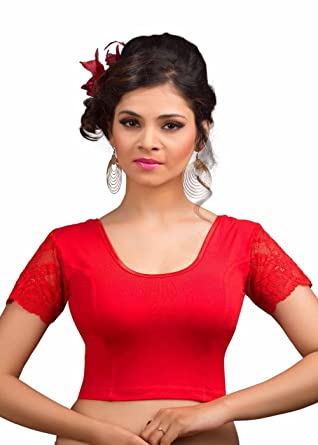a14f4978b3f91c Salwar Studio Women's red Cotton Lycra Non-Padded Stretchable Readymade  Saree Blouse(OM-