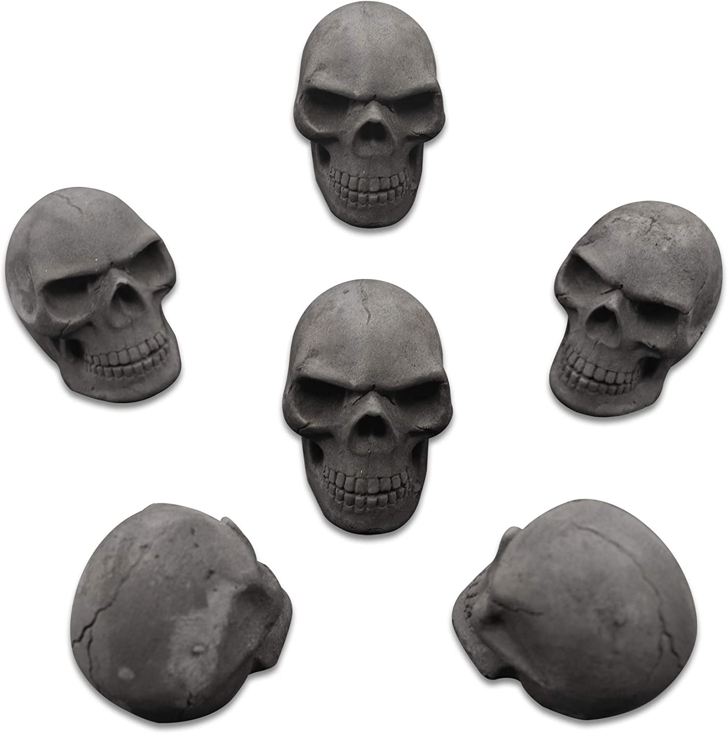 Gothic Charcoal Amazeng Burnable Imitated Human Skull Charcoal Handmade Qty 6, Black BBQ Charcoal Campfire for Indoor or Outdoor
