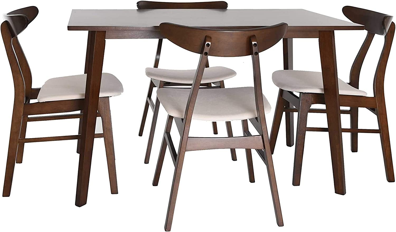 Zenvida Mid Century 5 Piece Dining Set Wood Table Fabric Chairs Seats Four