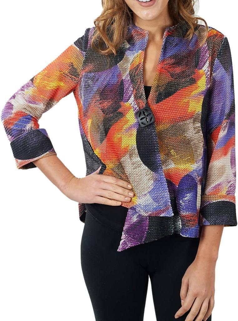 Joseph Ribkoff Multicoloured Knit Button Closure Coverup Jacket Style 171596 - Size 10