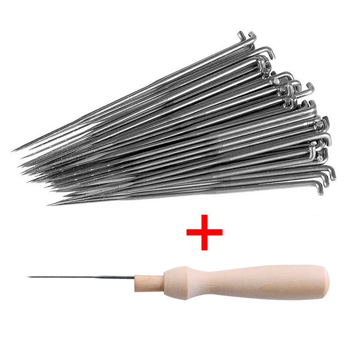 60pcs Felting Needles of 3 Sizes + 1 pc Handle Wood Felt Tool PDTO