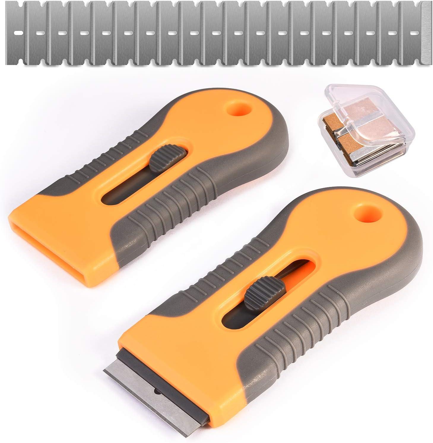 Razor Blade Scraper, 2 Pcs Plastic Retractable Razor Scraper with 40 Pcs Steel Scraper Blades for Glass Cooktop Windows