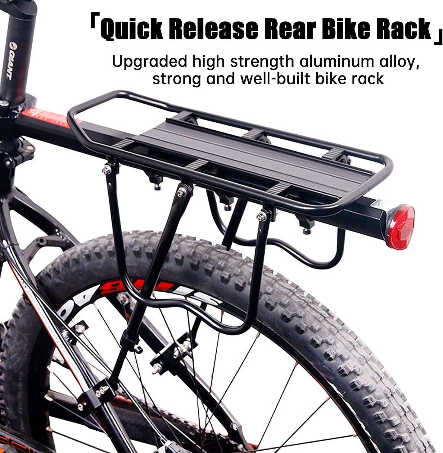 TFJ Rear Bike Rack Quick Release Bicycle Cargo Rack Universal Adjustable Alloy Bicycle Luggage Carrier 110 lbs Capacity Easy to Install