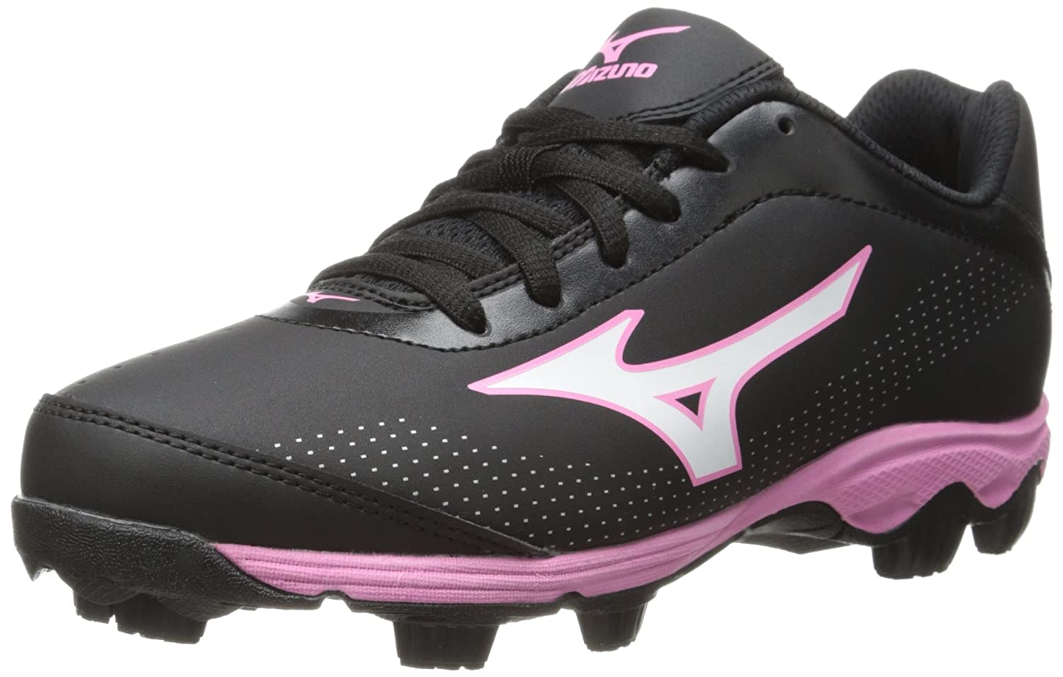 Mizuno Youth Finch Franchise 5 Softball Cleat (Little Kid/Big Kid) Black/Pink 1.5 M US Little Kid Youth Finch Franchise 5 - K