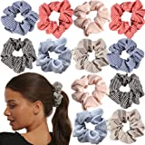 Hair Scrunchies Cotton Striped Pink Red Blue Ties Elastic Hair Bands Ropes for Women or Girls Ponytail Holder…