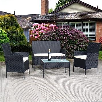 Amazon Com Tangkula 4 Pcs Wicker Furniture Set Outdoor Patio