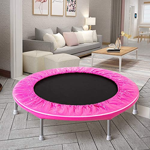 Romatlink Indoor, 38 Inch Exercise Adult and Kids, Portable Fitness Trampoline with Safety Padding Springs, Max 180lbs, F, M, Pink