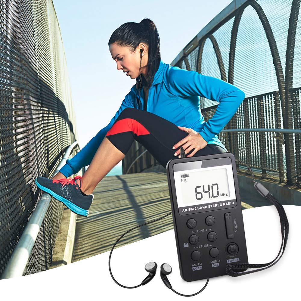 Portable Radio Mini AM FM Digital Radio with Earphones Pocket Personal Radio Compact Transistor Radio AM FM Stereo Radio Rechargeable LCD Display for Gift Walk Jogging Outdoor Black