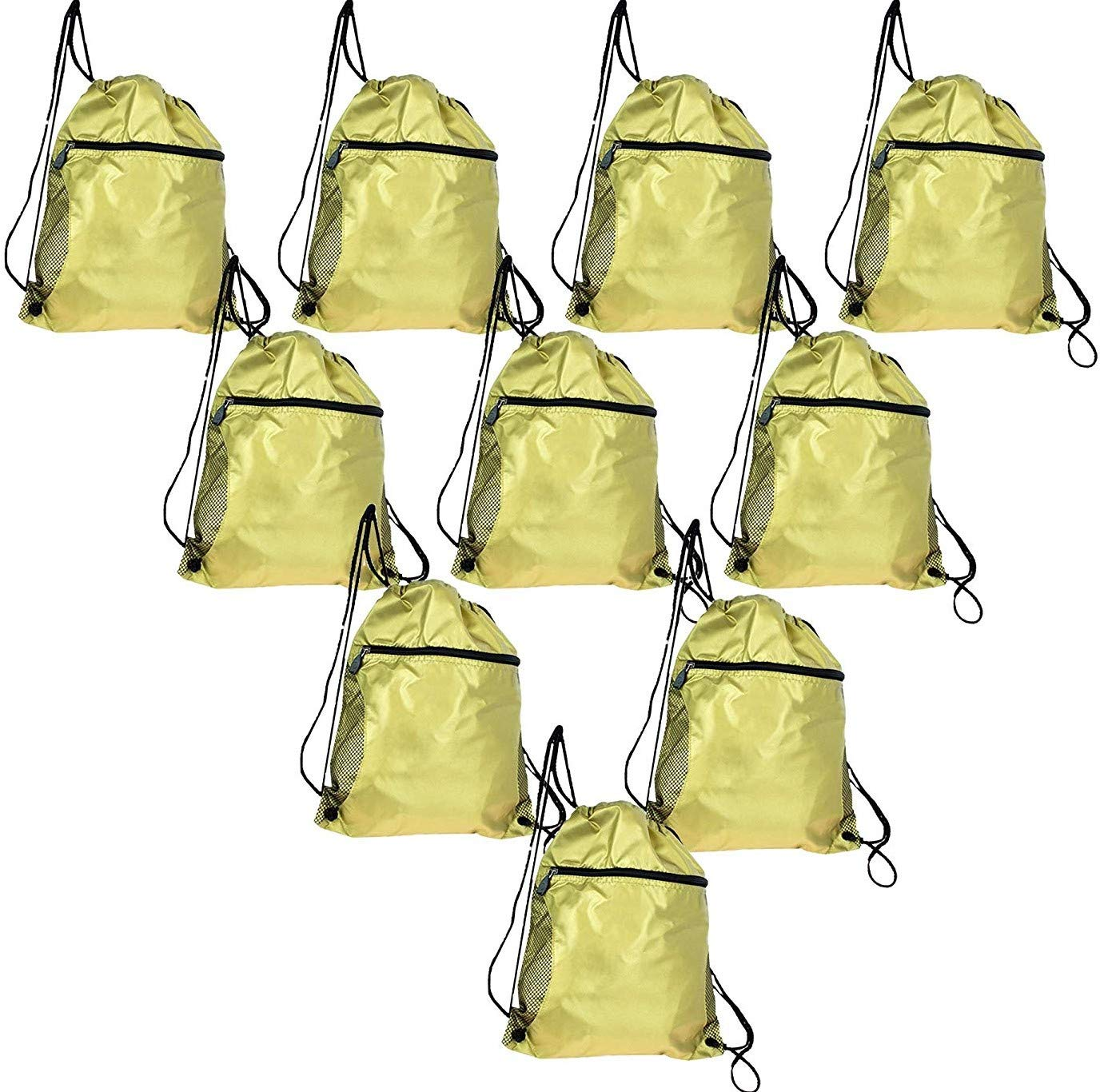 200 Pack - Bulk Case Drawstring Backpacks in Gold, Promotional Gym Sack Sport Cinch with Zipper Wholesale Bags
