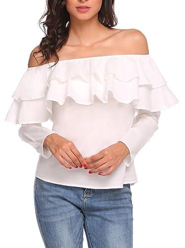 Meaneor Camiseta Mujer con Manga Volante Sin Hombro Elegante Talla Grande S-XXL