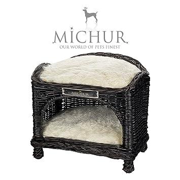 MICHUR VENUS, Cama del perro, cama del gato, cesta del gato, cesta del perro, sauce, mimbre, espresso: Amazon.es: Hogar