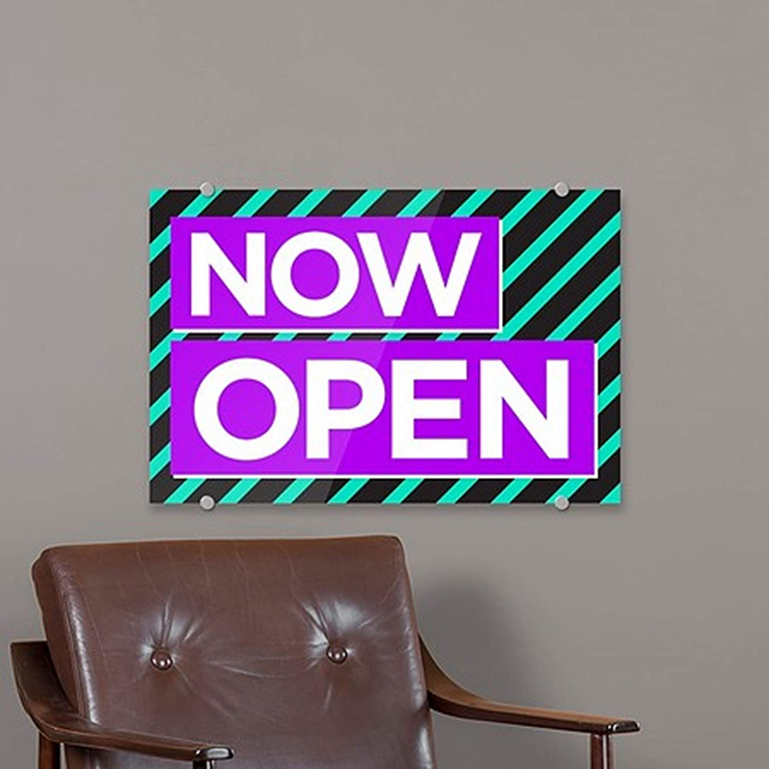 27 x 18 Modern Block 1//8 in Premium Acrylic Sign with Brushed Aluminum Edge-Grip Stand-Offs CGSignLab 2452783/_absw/_27x18/_None Now Open