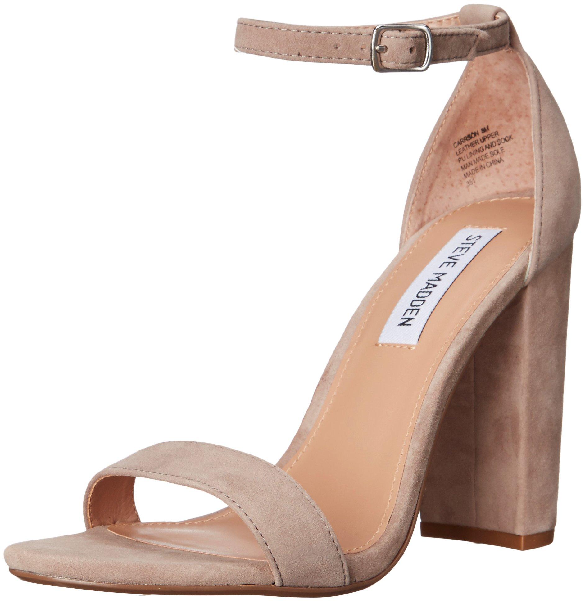 Steve Madden Women's Carrson Dress Sandal, Taupe Suede, 8.5 M US