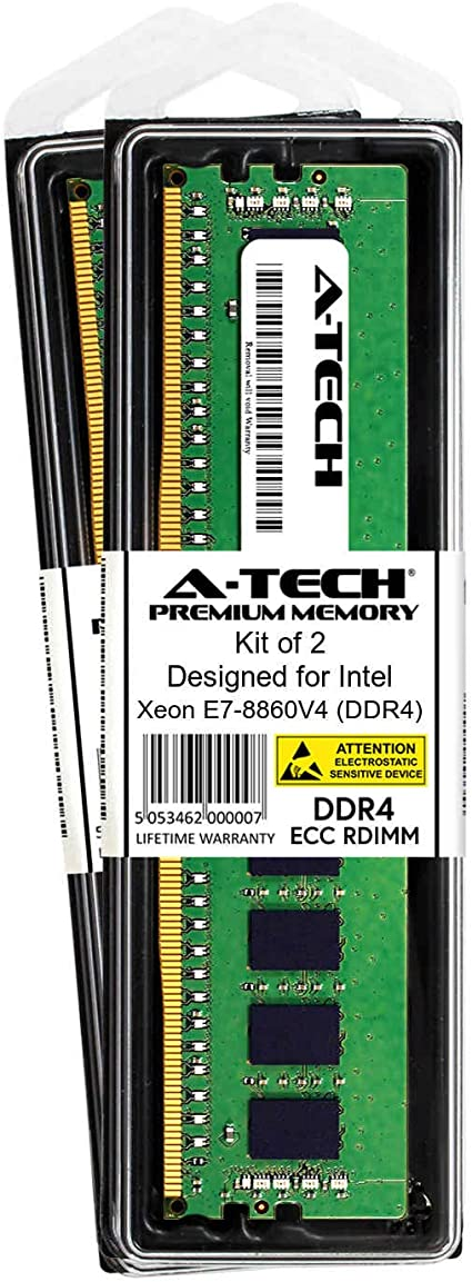 Server Memory Ram DDR4 - DDR4 PC4-21300 2666Mhz ECC Registered RDIMM 1rx4 A-Tech 16GB Module for Intel Xeon E7-8860V4 AT360756SRV-X1R8