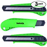 Box Cutter Utility Knife (3 Pack) - Premium Grade Strength - Retractable Snap Off Blades - Perfect Hobby Knife for…
