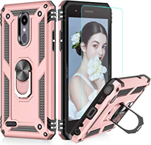 LG Tribute Empire Case,LG Aristo 3/Aristo 2/Rebel 4 LTE/Aristo 2 Plus/Phoenix 4/Tribute Dynasty/Zone 4 Phone Cases with HD Screen Protector, LeYi Magnetic Car Mount Ring Holder Stand Cover, Rose Gold