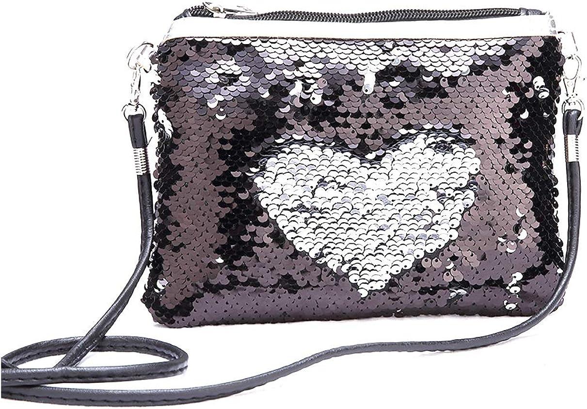 Girls Glitter Sequins Crossbody Purse Women Shoulder Bag Envelopes Clutch Handbags