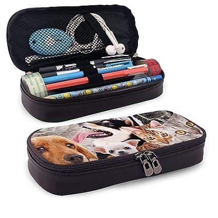 Estuche multifuncional para lápices de perro y gato, bolsa con cremallera para guardar brochas de maquillaje, color negro talla única: Amazon.es: Oficina y papelería