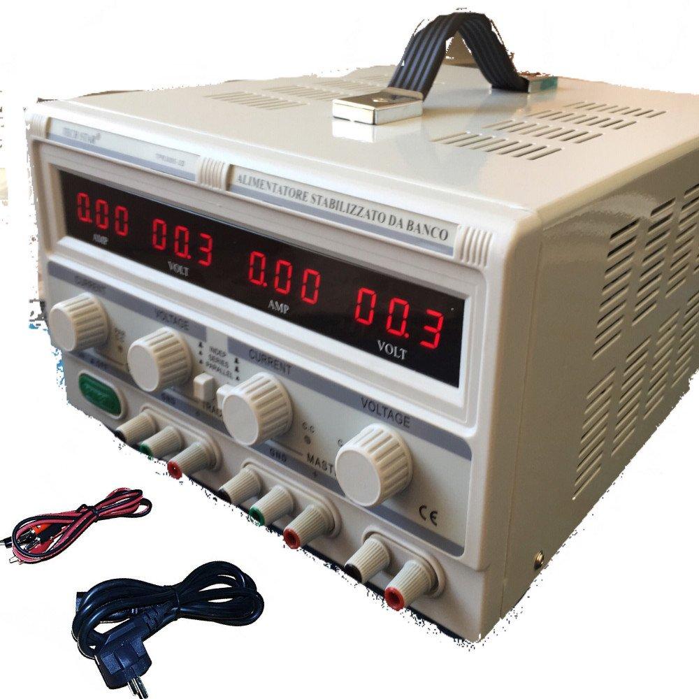 DOBO® Alimentatore Stabilizzato da banco Duale Trasformatore lineare corrente professionale regolabile fino a 30V-60V e 5A-10A / Parallelo o Seriale Tech-Star TPR3005-2D