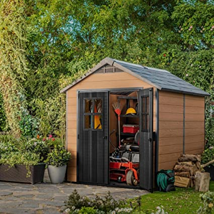 Keter 243410 - Caseta de jardín exterior Newton 759, color marrón: Amazon.es: Jardín