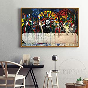 Oil Paintings On Canvas Hand Painted,Hand,Painted Oil Paintings On Canvas The Last Supper Oil Painting On Canvas Funny Art The Last Supper Oil Painting For Living Room Decor Wall Art,90×150Cm